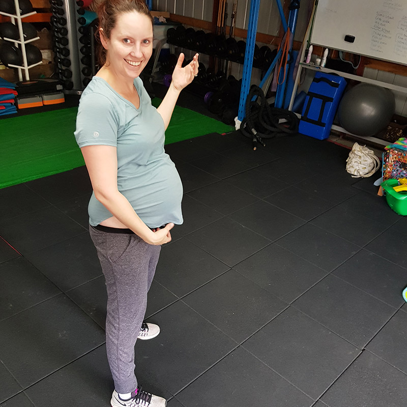 Nicola pregnant getting ready for her tailored pregnancy workout