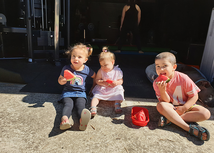 Kids eating watermelon at the child friendly studio Back to Basics 4 Life Fitness North East Melbourne