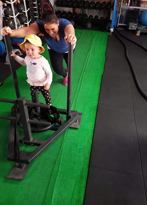 Mother and bub working together to stay fit and healthy with exercise for kids program combined