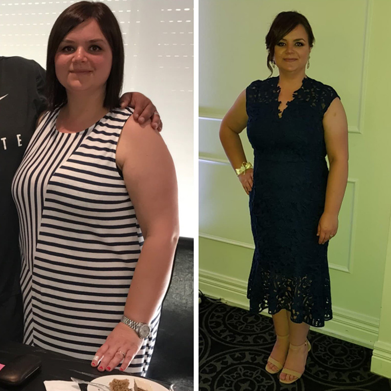 Before and after photo of Anita on her weight loss personal journey