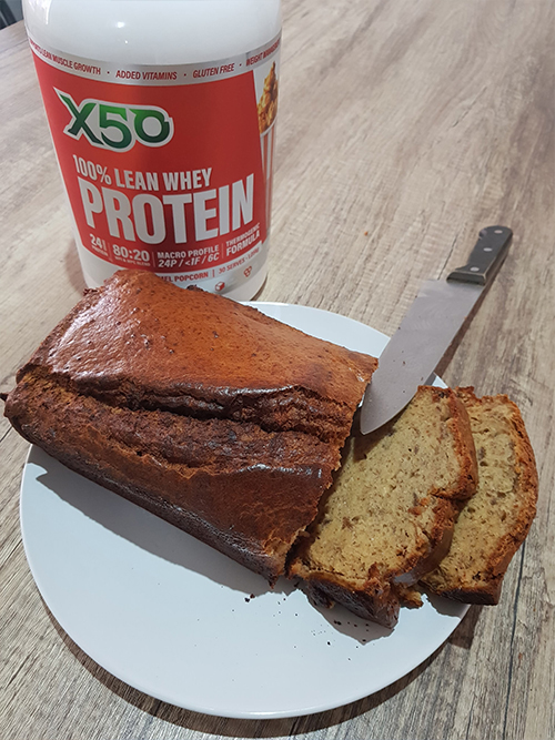 X50 kean whey protein with a fresh serve of healthy banana bread for a sweet treat